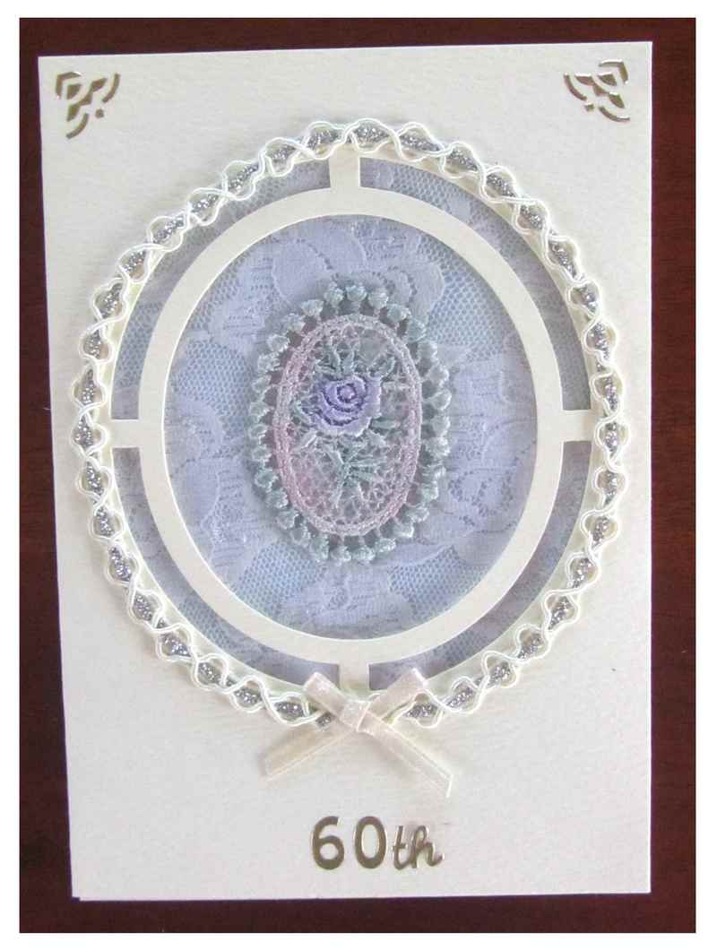 Birthday Card with lace, braid and motif