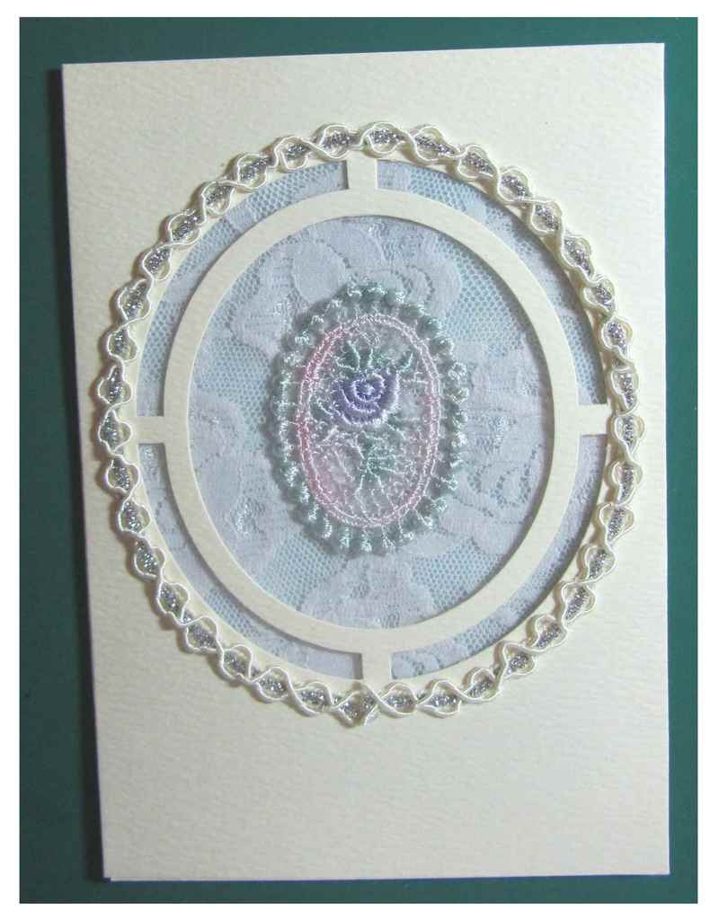 Tape card with double-sided tape  - Birthday Card with Lace and Braid