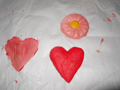 clay, heart, flower, paper weight