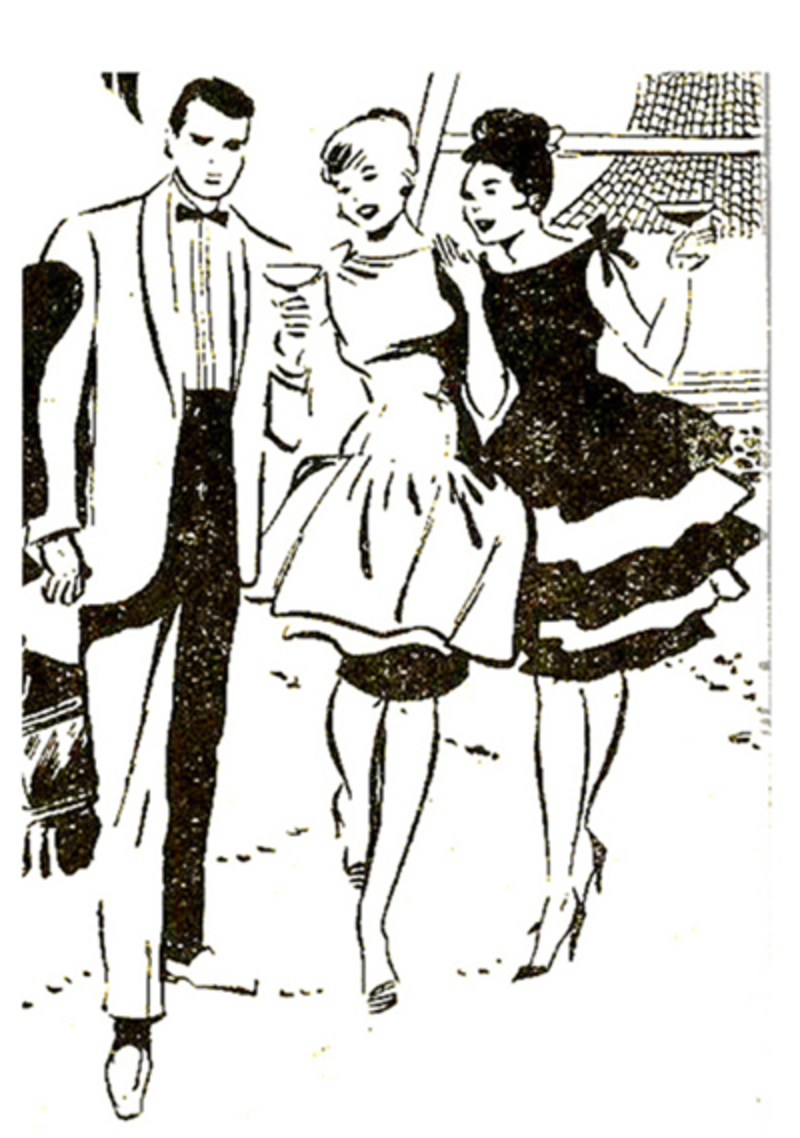 colouring page,party,women,man,cocktail party  - Party Pages for Colouring & Collage