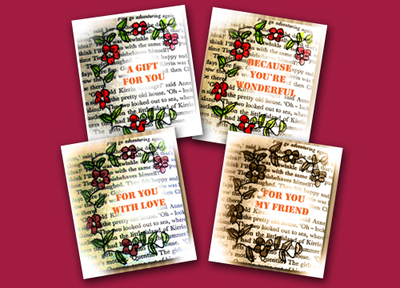 gift tags,floral,book page,scrapbooking tags