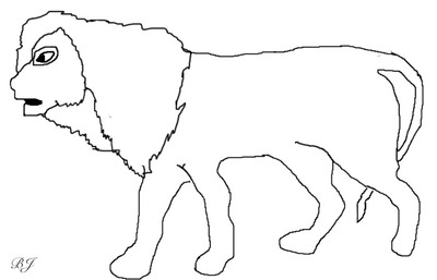 lion cub, template, line art