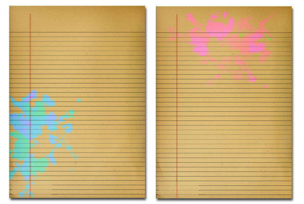 ... paper,journal page - Lined Neon Splotched Journal Paper - Image 3