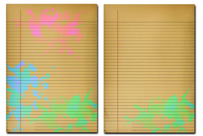 neon,splotchy journal paper,journal page
