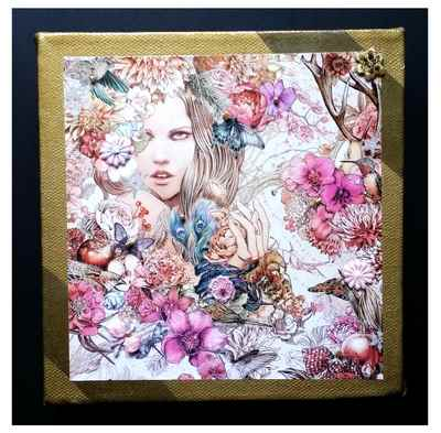 Painted decorative canvas with embellishments