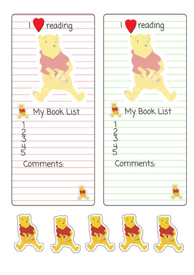 pooh bear,bookmark,printable,stationery