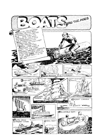 wotalife,comic,public domain,cartoon,animals,cartoon animals,comic colouring page,boats,comic page panel